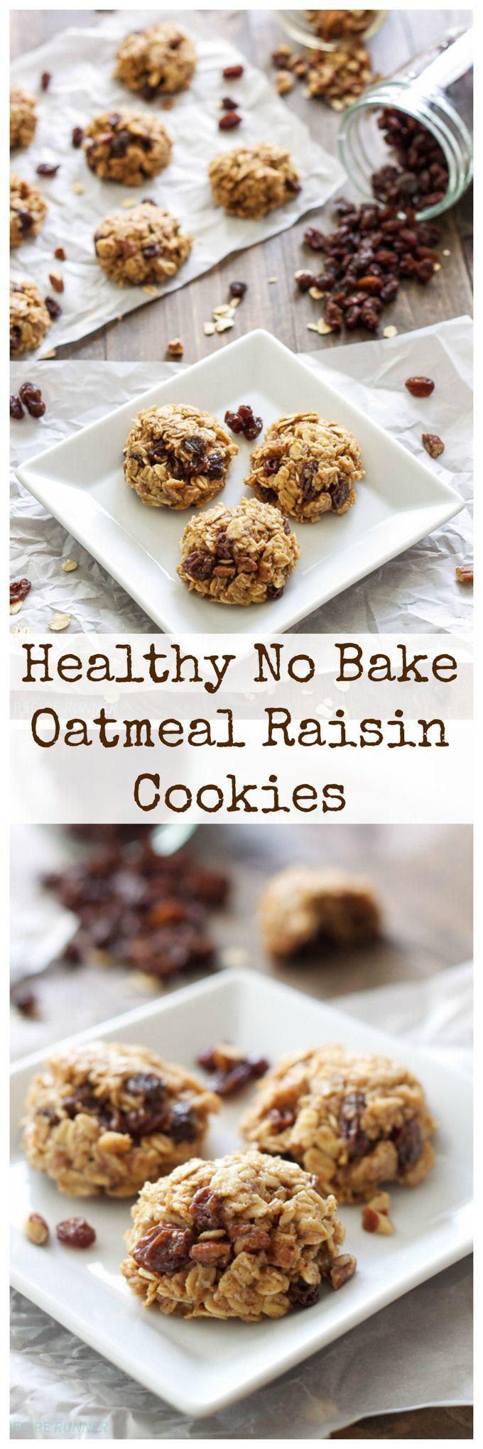 Healthy No Bake Oatmeal Raisin Cookies | A healthy oatmeal raisin version of the classic no bake cookies!
