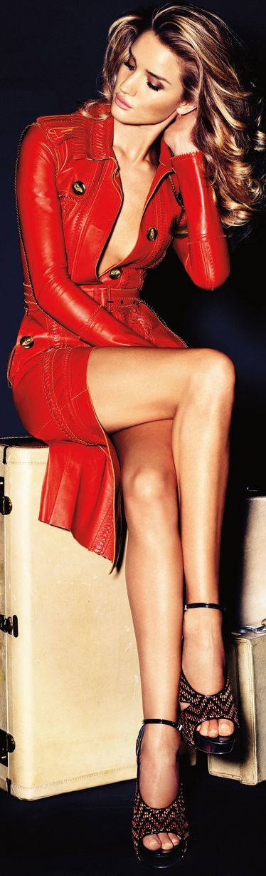 Rosie Huntington Whiteley in red leather