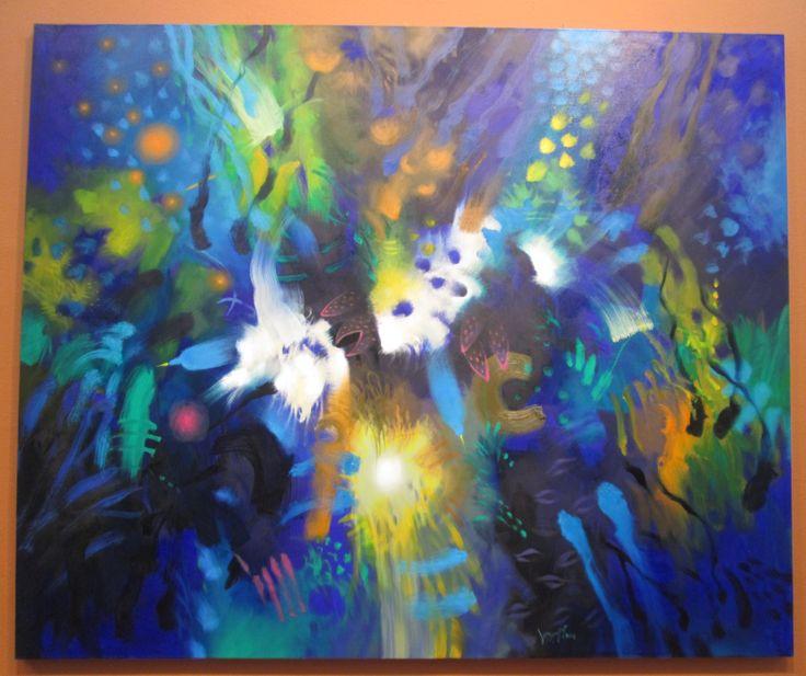 Orificios en azules Óleo sobre lienzo 140 x 170 cms 2001 Colección privada