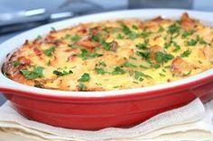 gratin de pomme de terre au poulet Ingrédients - 8 à 10 pommes de terre - 1 oignon - 1 gousse d'ail - 3 à 4 filets de poulet en petits morceaux - Huile d'olive - Sel et poivre - Une pincée noix de muscade - 3 œufs -25 cl crème fraîche liquide -2 c à s de persil ciselé (facultatif) -4 portions de fromage (type vache qui rit ou autre)