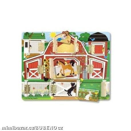 Výuková hračka deska s dvířky a zvířátky