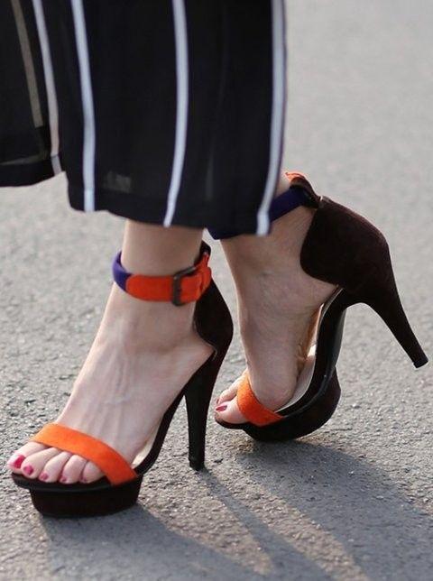 platform ankle strap party high heel sandals