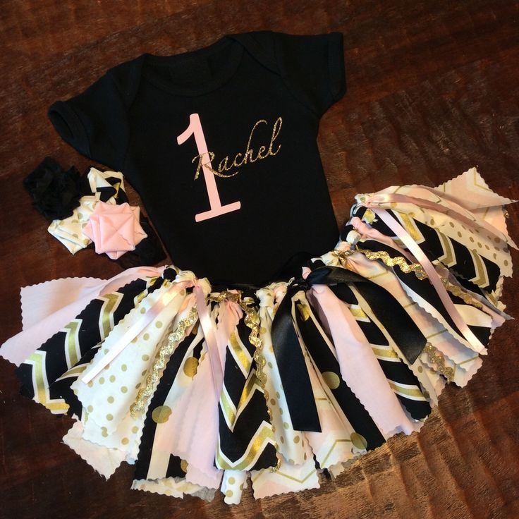 Any Age Personalized 3 Piece Black and Gold with Light Pink Birthday Outfit w/ Onesie / Shirt w/ Glitter Name and Age, Fabric Tutu, Headband by CamiAndJo on Etsy https://www.etsy.com/listing/256433521/any-age-personalized-3-piece-black-and