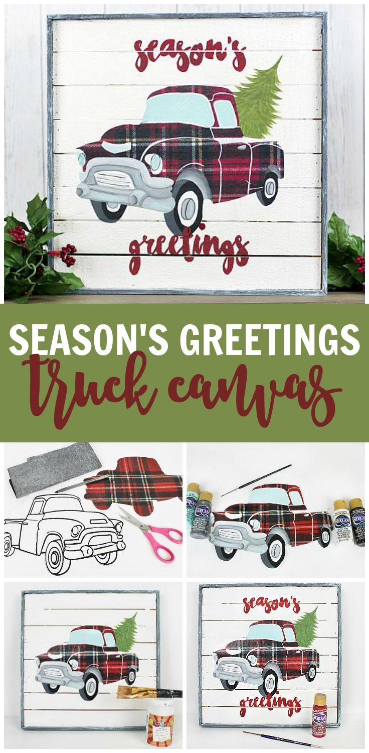 Get on top of the latest decorating trend with this plaid d cor piece made with americana lodge stylecricut cardschristmas
