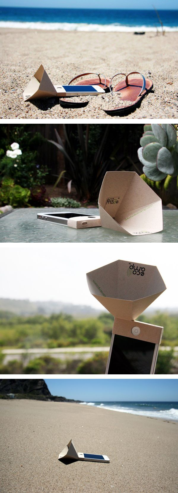 Eco-amp. Ecological and recyclable amplifier for iphone speakers by the American brand Eco-made.