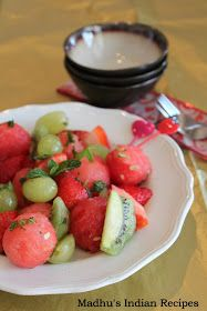 Madhu's Indian Recipes (Madhu's Vantalu): Honey Lime Fruit Salad | Valentines Day Recipes