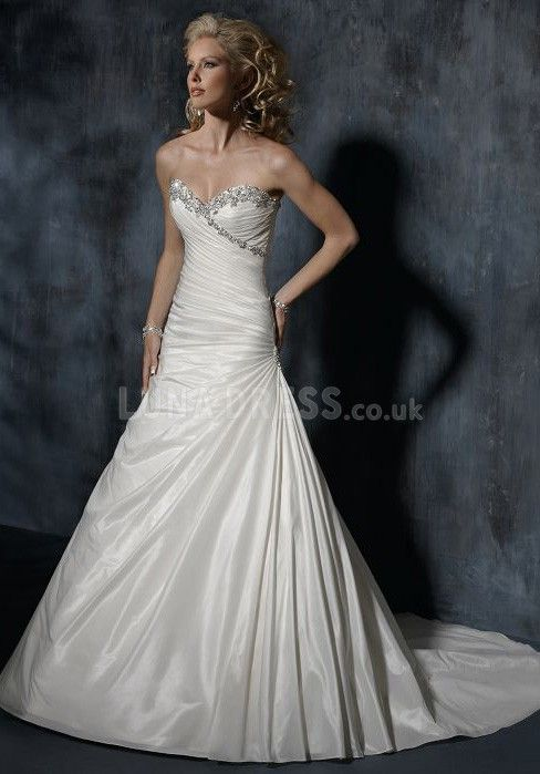 Great Sweetheart A line Floor Length Asymmetric Waist Chapel Train Bridal Gown