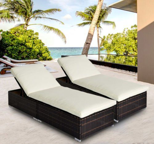 Outsunny Rattan Garden Furniture 2 pcs Set Sun Loungers Recliners Bed Chairs Reclining Patio Wicker Chairs