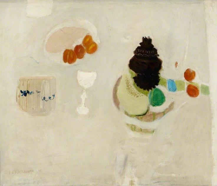Still Life on White by Elizabeth V. Blackadder Oil on canvas, 64 x 76 cm