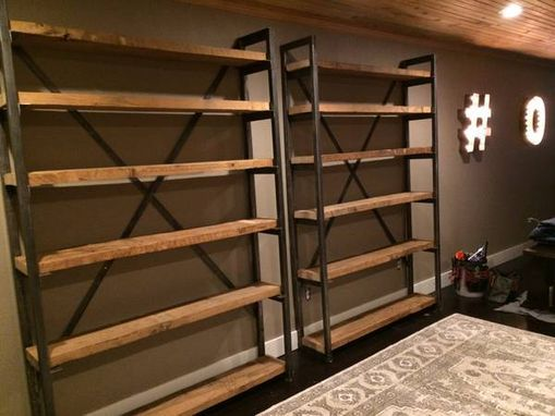 Custom Made Metal And Wood Bookshelves