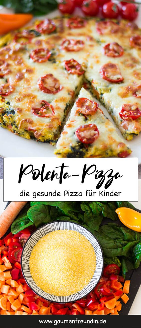 Polenta pizza with spinach and tomatoes – a quick recipe for kids