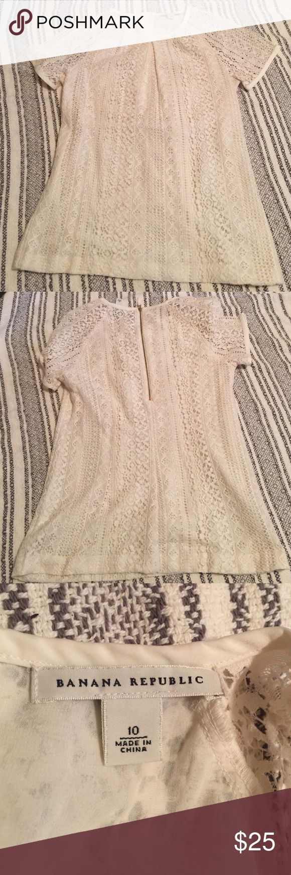 Banana Republic Cream Lace Top Excellent condition! Beautiful & elegant lace top! Make an offer or bundle and save more!! :) Banana Republic Tops Camisoles