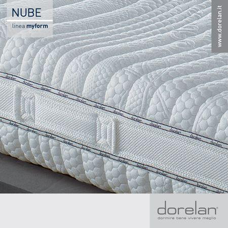 Nube può essere personalizzato da ogni Cliente scegliendo fra 5 differenti tipi di Fodere, in materiali adatti ad ogni tipo di esigenza. Tutti i rivestimenti Nube sono dotate di una fascia laterale in tessuto tridimensionale che ne ottimizza l'aerazione, sono sfoderabili e dotate di 6 maniglie laterali, che ne rendono agevole girare il materasso.  #materasso #Nube #Dorelan #sostegno #benessere #Myform #aerazione