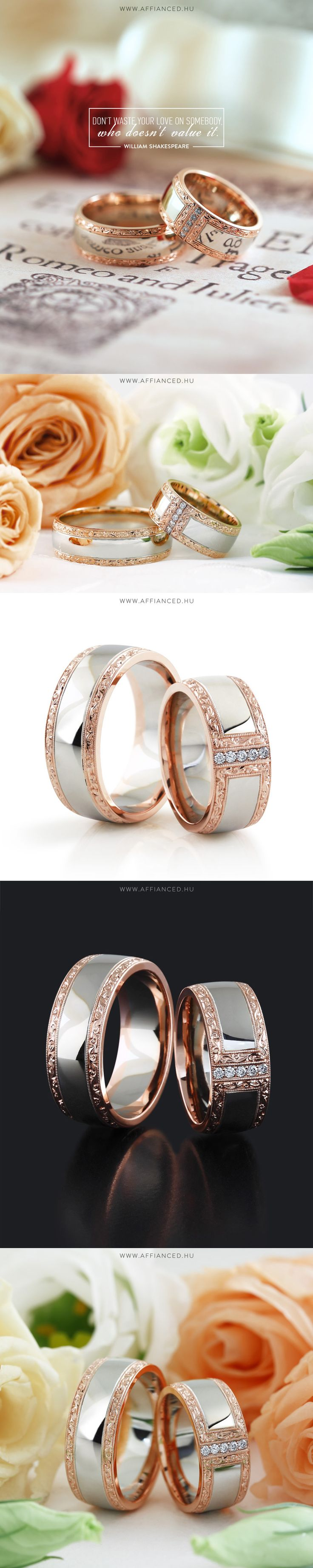 Barocco Bold №6 - wedding rings - White and rose gold wedding rings with handmade engraving and small diamonds.