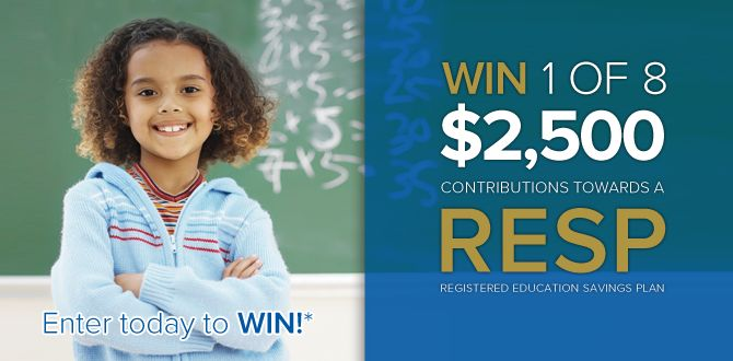 Enter for a chance to #win one of eight $2,500* contributions towards an #RESP from Heritage Education Funds!  Visit http://www.heritageresp.com/WinARESP to enter.  * No Purchase necessary. #Contest closes on December 31st, 2014. Open to age of majority residents of Canada. Skill-testing question required. Odds of winning depend on the number of eligible entries received. To enter or for full contest rules, visit HeritageRESP.com/WIN-rules.