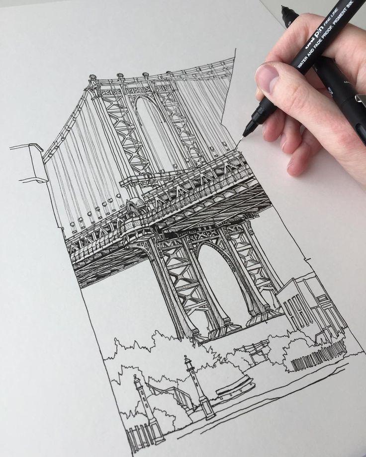 #art #drawing #pen #sketch #illustration #linedrawing #manhattan #manhattanbridge #newyork #newyorkcity #bridge #architecture #commission