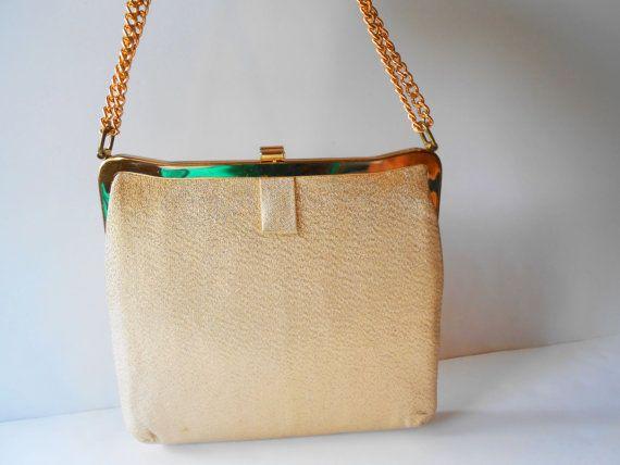 Gouden avond tas Vintage goud Metallic portemonnee glamoureuze EB-0297