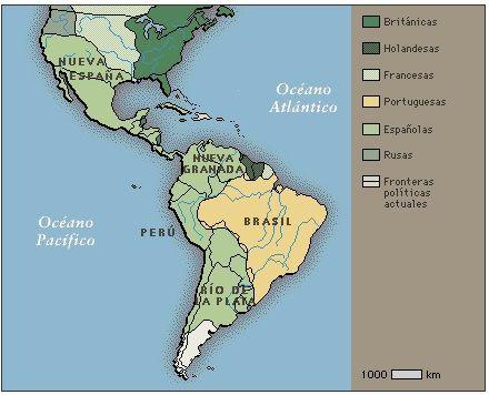 Mapa de las zonas de America Latina controladas por los españoles,en la epoca colonial