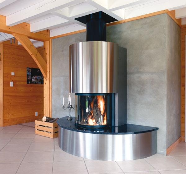 chemin e en inox et granit noir brillant foyer ruegg. Black Bedroom Furniture Sets. Home Design Ideas