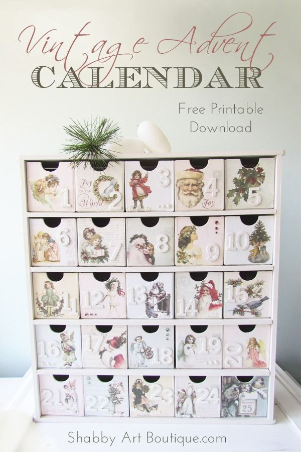 Free printable vintage graphics to make this gorgeous vintage Advent Calendar - Shabby Art Boutique