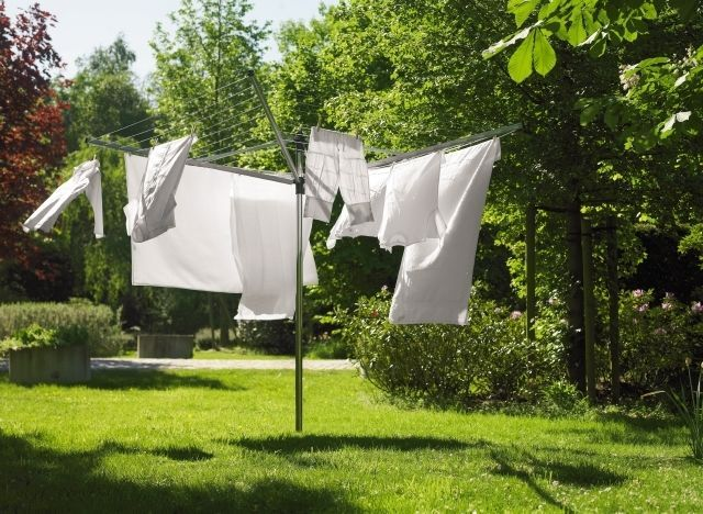 Washing line at side of house near back door
