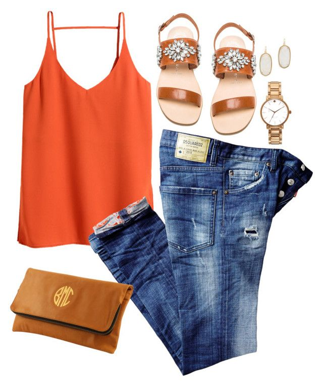 #summer #outfits / Orange Sleeveless Top + Jeans