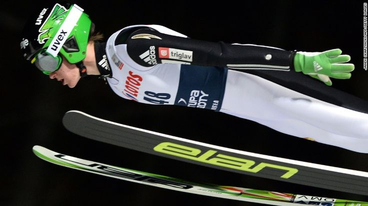 Slovenia's Peter Prevc competes during FIS Ski Jumping World Cup in Wisla, Poland on January 15, 2015. setting a new world record of 820 ft
