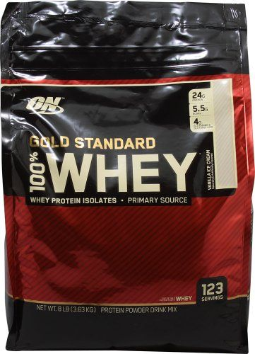 Optimum Nutrition 100% Whey Gold Standard, 8 Pound Vanilla Ice Cream -- For more information, visit image link.