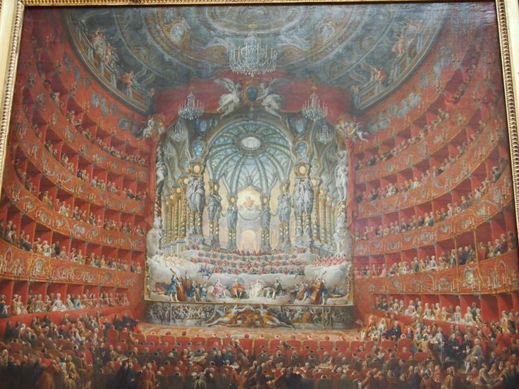 Panini is the author of a giant group portrait divisible into scores of miniature genre scenes. Here the occasion is the opera given to celebrate the marriage of Louis XV's son -- a gathering where the guest list is not without importance.