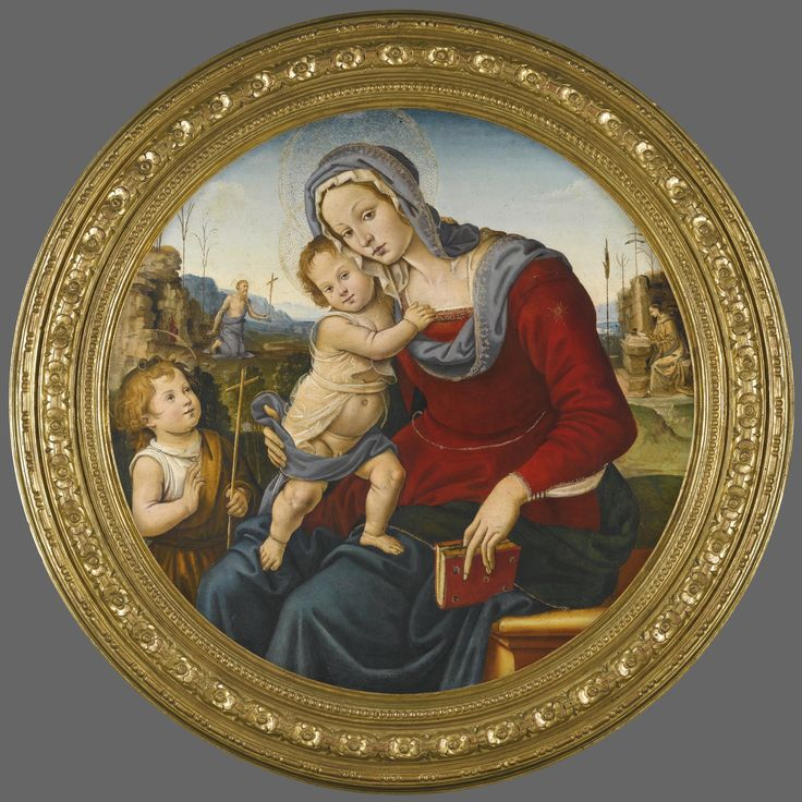 Raffaellino del Garbo FLORENCE 1466 (?) - 1524 THE MADONNA AND CHILD WITH THE INFANT SAINT JOHN THE BAPTIST, BEYOND THEM A LANDSCAPE WITH SAINTS JEROME AND FRANCIS oil on panel, a tondo diameter: 87 cm; 34 1/4  in.
