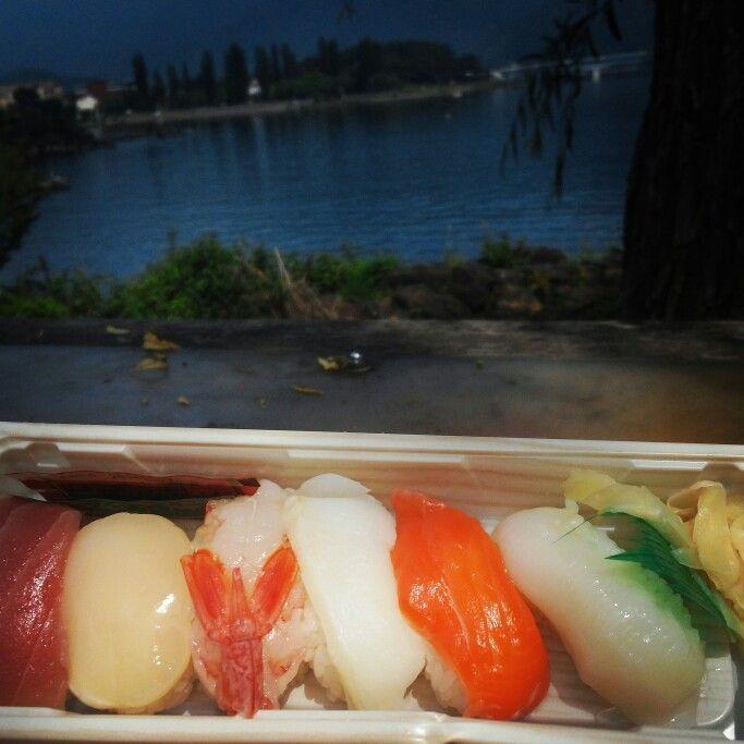 Enjoying some sushibat Lake Kawaguchi, Mount Fuji, Japan