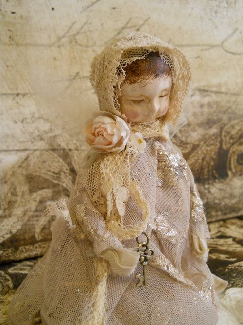 Angel Art Doll Handmade of Clay Vintage Fabrics Lace by PapernLace