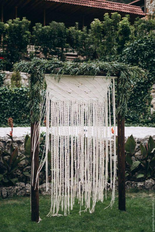 Свадебные аксессуары ручной работы. Ярмарка Мастеров - ручная работа. Купить Свадебная штора - макраме. Handmade. Белый, штора
