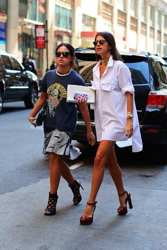 Loving how well Leandra Medine is rocking the that shirt/dress. @Mandy Bryant Bhear Repeller #NYFW