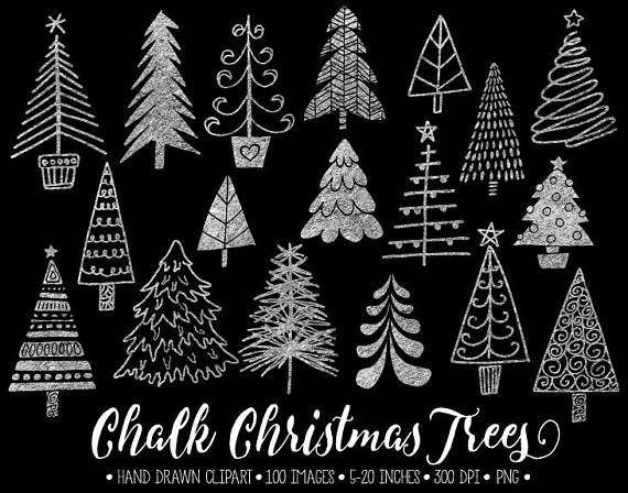 Chalkboard Christmas Tree Clip Art. Hand Drawn Chalk Christmas Illustrations. White Doodle Winter Clipart for Gift Tags, DIY Greeting Cards
