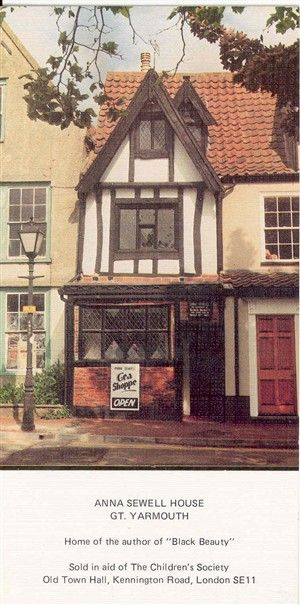 The author Anna Sewell's house, of Black Beauty fame, Great Yarmouth, UK, now a tearoom it still retains the Anna Sewell connection