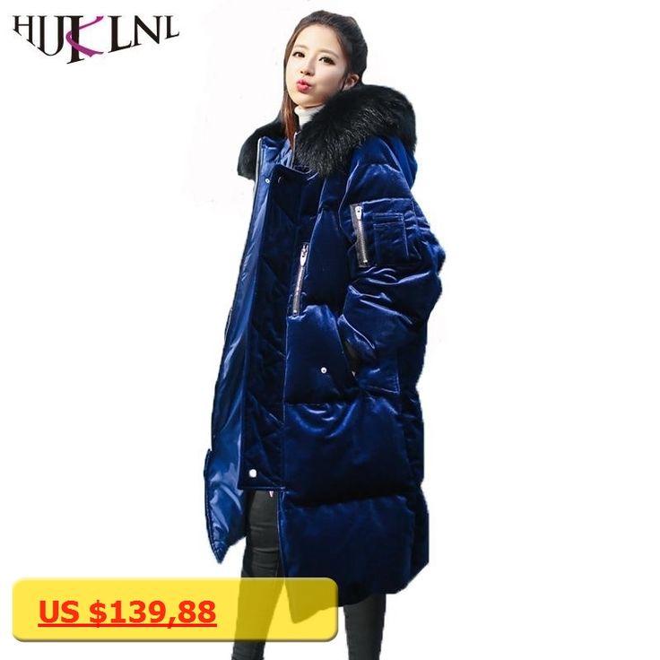 HIJKLNL abrigo plumas mujer Winter Long Down Jacket With Real Raccoon Fur Women Velevt Thick Hooded Duck Down Coat Parka NA390
