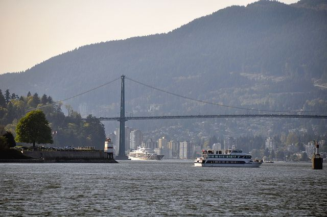 Superyacht and the Lions Gate Bridge