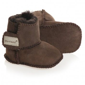 En Fant Dark Brown Pre-Walker Sheepskin Bootees at Childrensalon.com