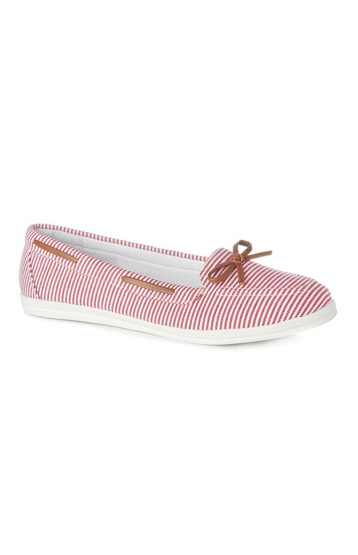 Primark - Sapatos de vela às riscas vermelho