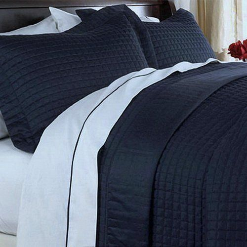 Modern Reversible Lightweight Solid Navy Blue Quilt Coverlet Set - Classic Navy color quilt coverlet, match it with White to have an upscale bedroom look!