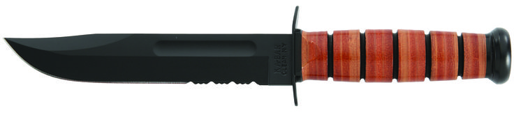 """The #1218 is the United States Marines version of the legendary WW II knife offering a full size 7"""" flat ground blade with a partially serrated edge section that provides extra cutting power with tough materials such as braided rope. Made exclusively in Olean, New York and proudly stamped KA-BAR. www.tomarskabars.com"""