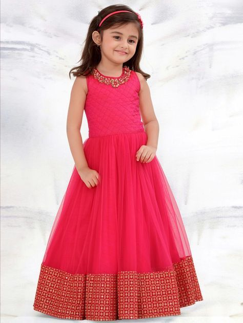 93a8144c3 Custom Made Indian Designer Pink Plain Mononet Baby Frock For Birthday in  2019 | Pretty dress | Gowns for girls, Kids gown, Kids frocks