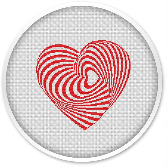 Heart Cross Stitch Pattern, Free shipping, Cross Stitch PDF, Cross stitch pattern, Love, Heart.#006