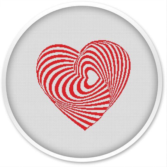 Heart Cross Stitch Pattern, Free shipping, Cross Stitch PDF, Cross stitch pattern, Love, Heart.#006