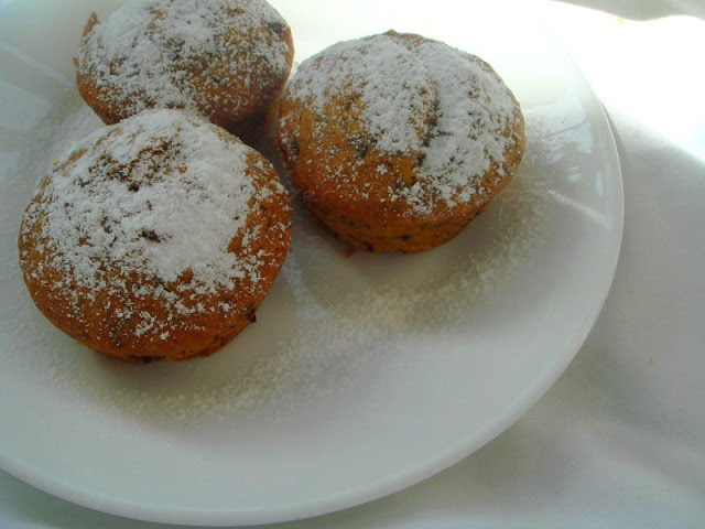 Wholewheat pumpkin chocolate chunk muffin