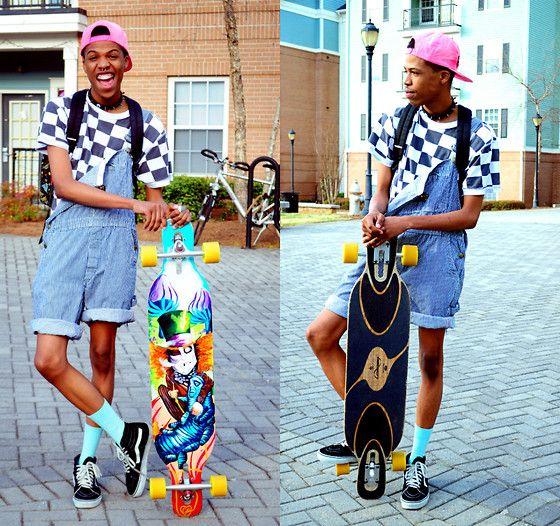 Vans Skate Hi's, American Apparel Mint Socks, Thrifted Overalls, Vans, Thrifted Snapback