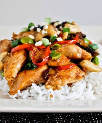 Healthier cashew chicken I howsweeteats.com | I'd use arrowroot starch instead of corn starch, coconut aminos instead of soy sauce, and addional veggies instead of edamame.