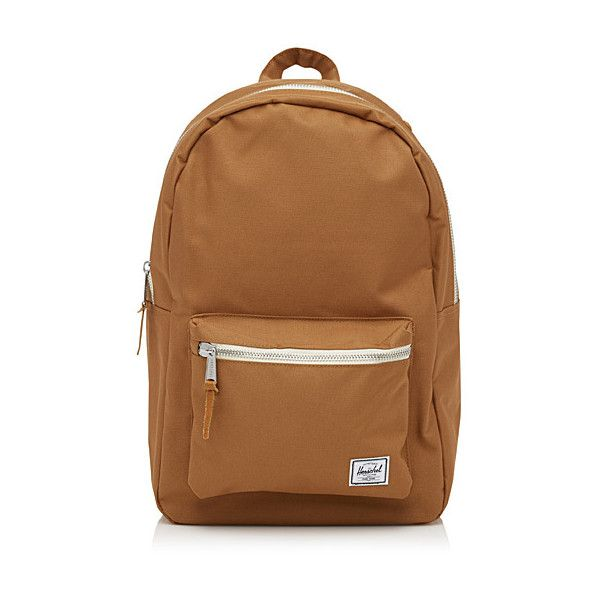 Herschel Settlement solid backpack ($47) ❤ liked on Polyvore featuring bags, backpacks, herschel backpack, backpack bags, canvas zip bag, canvas bag and brown backpack