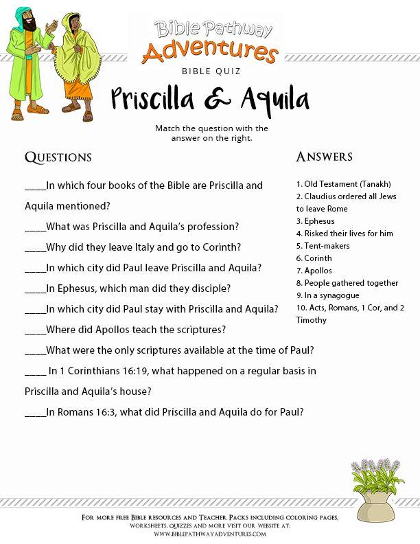Bible Quiz For Kids Priscilla And Aquila